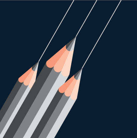creative arts: silver pencils on dark blue background Illustration