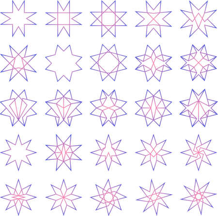 Set of 25 soft colorful octagon stars (thin outline) - geometric, ornamental and decoration design
