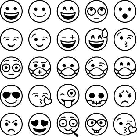 25 Smileys Emoticons. Black outline on white b. Vectores