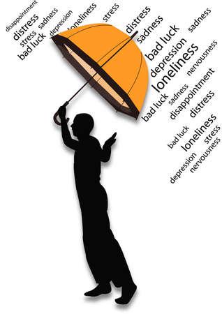 mann bad: Mann mit einem Regenschirm, der ihm von Gef�hl schlechten sch�tzt