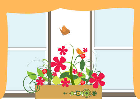 window with pots of flowers and birds