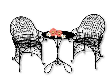 garden chair: garden furniture with flowers on the table