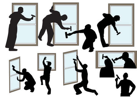 silhouettes of people who clean the windows Stock Vector - 9390180