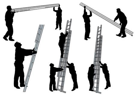 people with ladder Stock Vector - 9584674