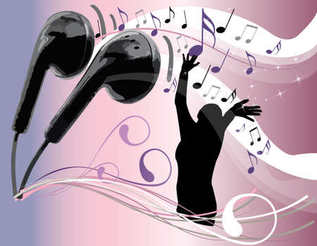 musical notes coming out of headphones  Stock Vector - 10958454