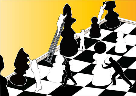 chess move: chess pieces with silhouettes of people Illustration