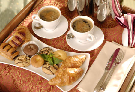 breakfast room: Breakfast tray in hotel Stock Photo