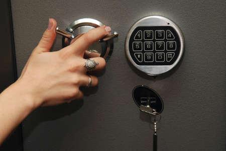 financial security: Open door of safe box