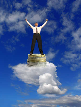Business dream. Businessmen on clouds with success. Dream come true !