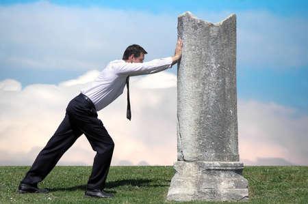 Hardworking.Metaphor,Sisyphean task Stock Photo
