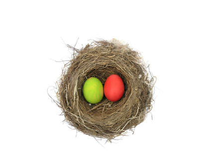 Painted Easter eggs in a birds nest.