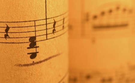 ...old print..close up of sheet music