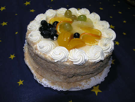 a fruit cake with cream