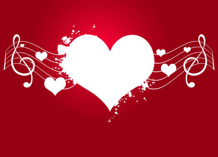 digital music:   love heart with love words and floral motives Stock Photo