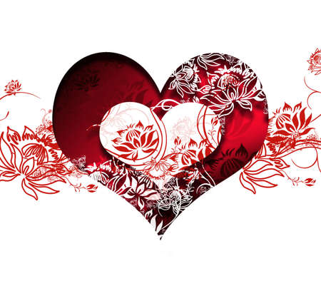 love heart with love words and floral motives photo