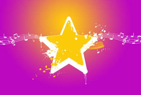 new age music: yellow and purple star background