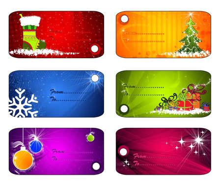lazo regalo: etiquetas de Navidad