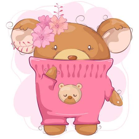 Fille ours mignon dessin animé avec fleur