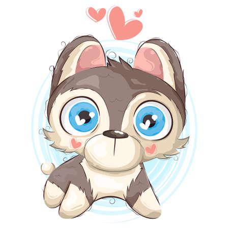 Vector sketching illustrations. portrait of a cute siberian husky dog