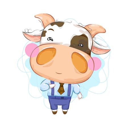Süße kleine Kuh mit eleganter Kleidung Vektorgrafik