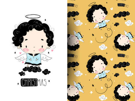 Little cute flying angel with cloud. Hand drawing illustration