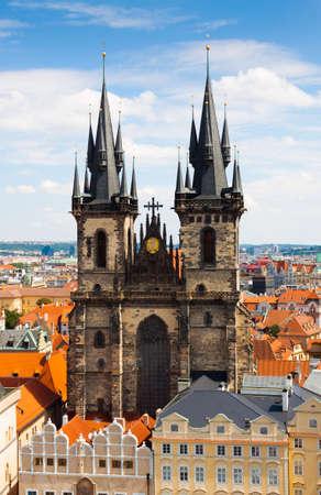 tyn: Prague. Tyn Church. Stock Photo