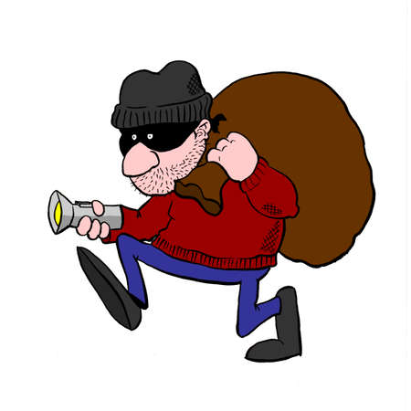 breaking law: Burglar stalking around with flashlight and swag bag