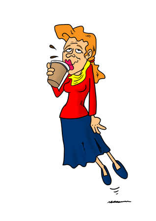 woman floating: Woman floating while drinking coffee