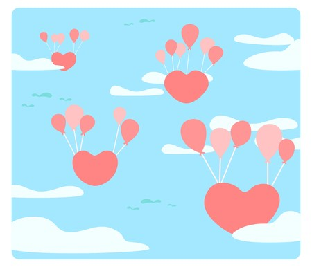 Heart is floating on the sky with balloons, The love are floating, heart floating with red balloon, Feel of love, An abstract picture that conveyed love, cute vector, colorful illustration, cute style