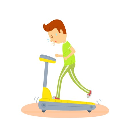 Young man running on a treadmill, Sport man running on treadmill, Jogging machine , Colorful illustration, Man exercising regularly, exercise on morning, routine daily of man, white background