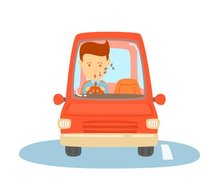 Happy man driving a red car, Business man is going to workplace, Daily routine of one man, cute vector, cartooning style, colorful illustration