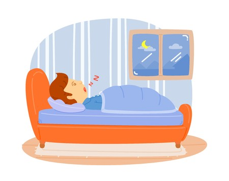 lying in bed: Man sleeping on the bed in the bedroom. Relax from fatigue,cute vector, cartooning style, colorful illustration Illustration