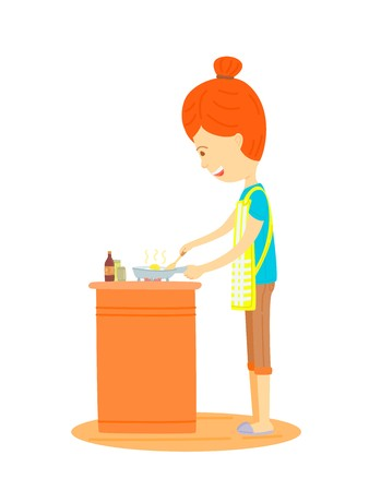 woman is cooking in the kitchen, Mother is cooking in the kitchen,Housewife is cooking in the kitchen,cute cartooning style, colorful illustration, The side of the woman are cooking