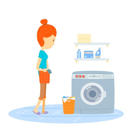 collect: Woman are washing, Woman hold a basket of cloth go to washing machine, Mother hold a basket of cloth go to washing machine, Mom is going to wash, Mother, Housewife , cute