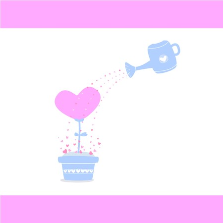 Watering Love tree, Watering heart tree, Take care of your love, Love card for Valentines Day, Abstract picture for wedding, cute vector, colorful illustration, white background 向量圖像