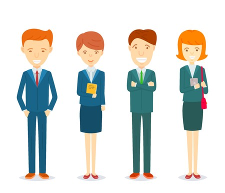 Set of Businessmen and businesswomen character in formal suits, Collection of Happy Business men and secretary women standing character in different posture, Businessmen character illustration