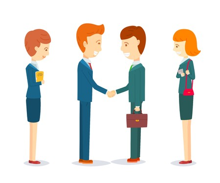 Two happy businessmen shaking hand to sign agreement, Success dealing, finish up a meeting, Two businessmen greeting, Businessmen talking about business, Two businessmen and Two secretary women Stock Illustratie