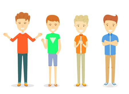 Set of men character standing in casual ware, Collection of Happy guy character smiling, Young men standing in different posture, Set of young men in different clothes, Cartoon character illustration Illustration