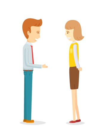 Businessman flirting secretary woman, Office worker talking to colleague, Build up friendship, Office work talking on break time, Happy manager man talking to secretary woman,Boss explain to secretary Illustration