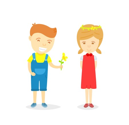 Cartoon character of boy and girl in loving concept, Boy giving flower to girl for love, isolated on white background, Character of happy boy and girl, Love card for valentine day in cartooning style Illustration