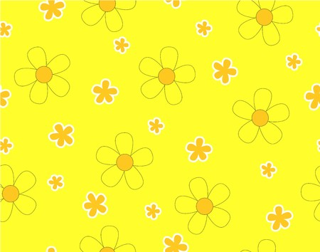 Flower and mini size flower on yellow background, Mini orange flower and yellow flower seamless pattern, Not ordered, Sweet style, Cute pattern vector for Gift wrapping paper Tablecloth or drapery