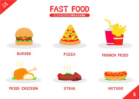 Set of fast food menu burger pizza french fries fried chicken steak and hot dog, Flat vector isolated icon on white background, Name number and money symbols, Colorful cartooning style, stylized icon