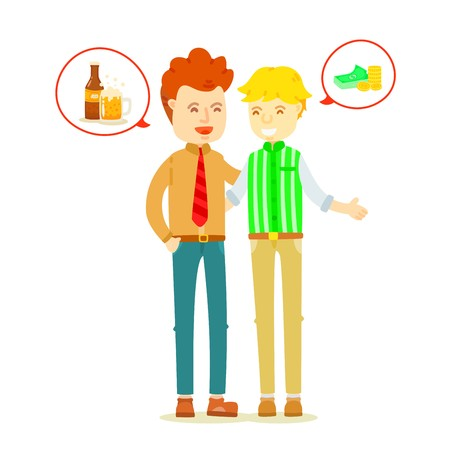 Two businessmen talking. One talked about having drinks and the other wants to borrow money Illustration