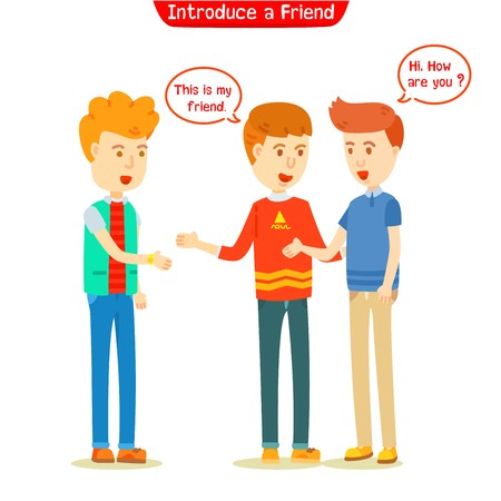 Three guys talking about new friend. Men introduced new friend to his friend Vectores