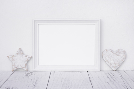 Stock photography white frame vintage painted wood table retro star heart deco craft Stock Photo