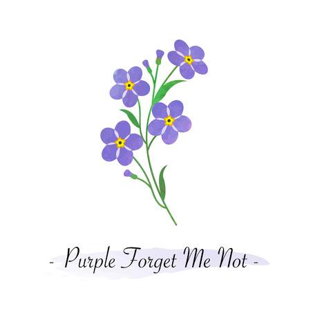 Colorful watercolor texture vector botanic garden flower light purple forget me not Ilustração