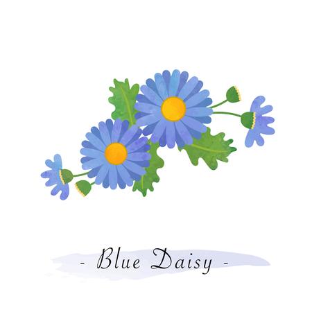 Colorful watercolor texture vector botanic garden flower blue daisy Иллюстрация
