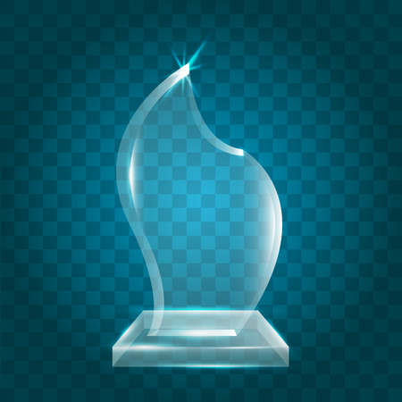 certificate template: Transparent Shining Blank Vector Acrylic Crystal Glass Trophy Award template