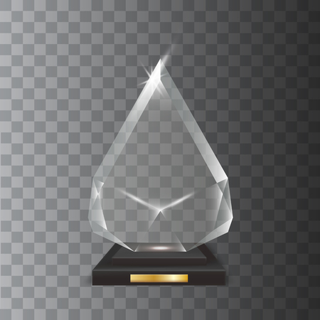 certificate template: Transparent Realistic Blank Vector Acrylic Glass Trophy Award