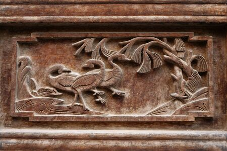 Traditional Chinese Residences interior wooden carving decoration painting in Tianshui Folk Arts Museum Hu Shi folk house, Gansu China